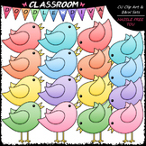 Pastel Birds Clip Art & B&W Set