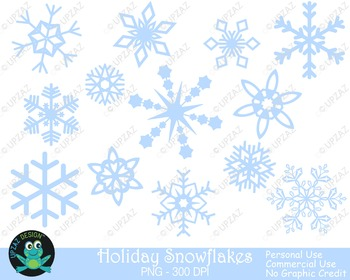 Pastel Blue Snowflakes {Upzaz Digital Clipart}