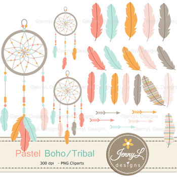 Pastel Boho Feather digital paper and clipart