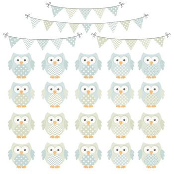 Pastel Boys Owl Vectors & Papers - Owl Clipart, Owl Clip Art, Baby Owls