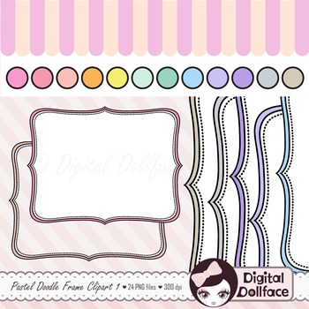 Pastel Bracket Frames Clipart / Doodle Clip Art