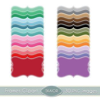 Pastel Bracket Frames Clipart Dotted Borders Rainbow Print