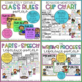 Pastel Brights Classroom Reference Decor (A Growing Bundle)