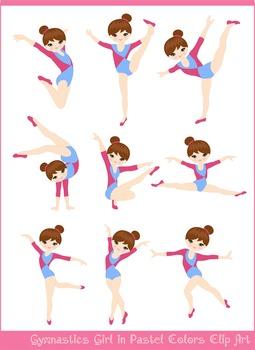 Pastel Brunette Girl Gymnast in Red Blue Clipart Set