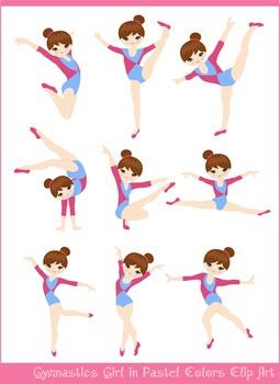 Pastel Brunette Girl Gymnast in Red Blue Clipart Set