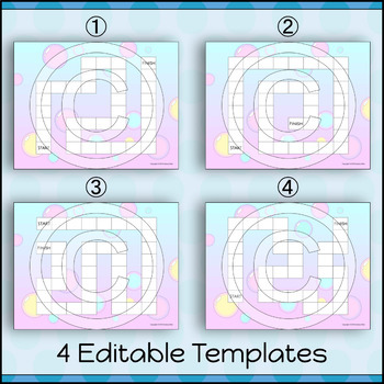 EDITABLE Board Game Templates | Pastel Bubbles
