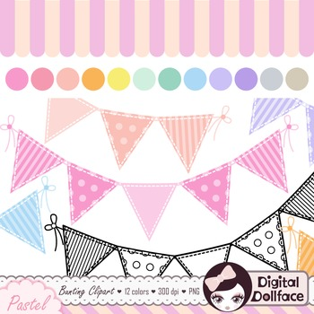 Pastel Bunting Banner Clipart / Cute Graphics