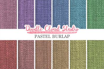 Pastel Burlap Fabric digital paper pack, pastel colors Backgrounds