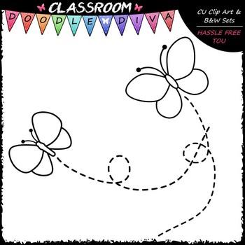 Pastel Butterflies Clip Art & B&W Set