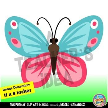 Pastel Butterflies Clip Art for Teachers
