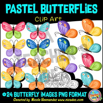 Pastel Butterflies Clipart Commercial Use, Digital Clipart, Png Images