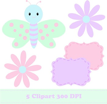 Pastel Butterfly Digital Paper + Clipart