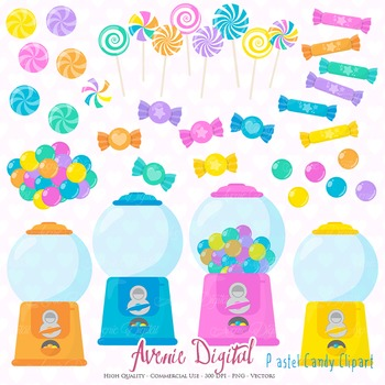 Pastel Candy Shop Clipart Scrapbook Commercial Use. Sweets candies graphics