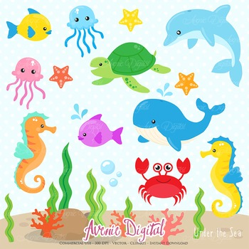 Under the Sea Digital Clipart Background Nautical Sea animals illustrations