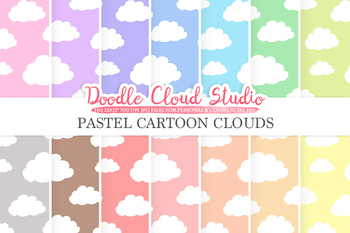 Pastel Cartoon Clouds digital paper, Cloud pattern, Digital Clouds