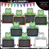 Pastel Chalkboard Frogs Clip Art - Frogs Clip Art