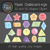 Pastel Chalkboard-Style 2D and 3D Shapes (Forms) Clipart