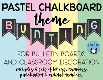 Pastel Chalkboard Theme Bulletin Board Bunting Letters