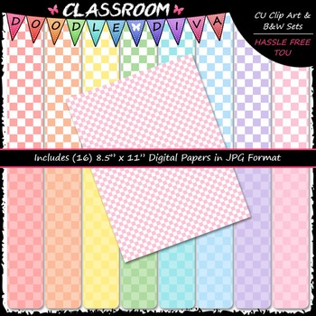 Pastel Checkers 1 - 16 CU 8.5x11 Digital Papers