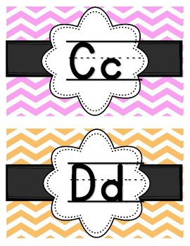 Pastel Chevron Alphabet Word Wall
