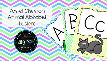 Pastel Chevron Animal Alphabet Posters