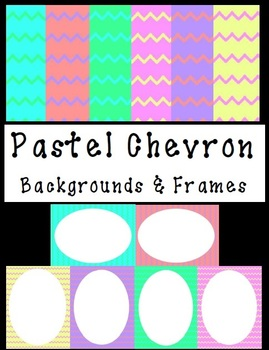 Pastel Chevron Backgrounds and Frames