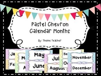 Pastel Chevron Calendar Months