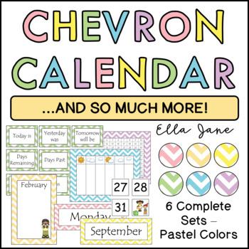 Pastel Chevron Calendar Sets (6 complete sets)