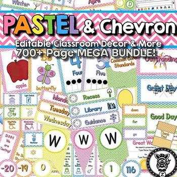 Classroom Theme Decor / Organization - Mega Bundle (Editable!) Pastel & Chevron