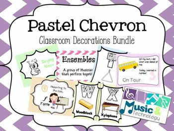 Pastel Chevron Classroom Decorations Bundle