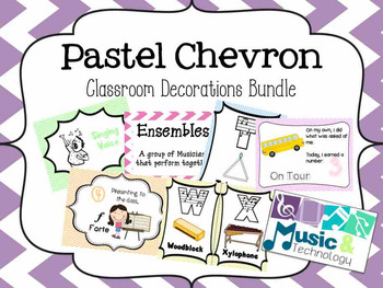 Pastel Chevron Classroom Decorations Bundle