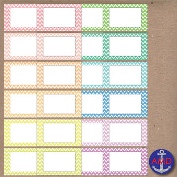 Pastel Chevron Clip Art Post-its, Labels and Notecards