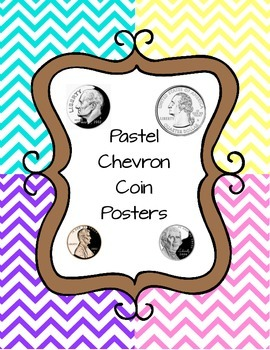 Colorful Chevron Coin Posters