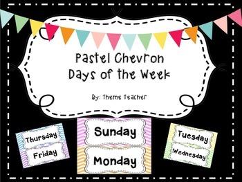 Pastel Chevron Days of the Week
