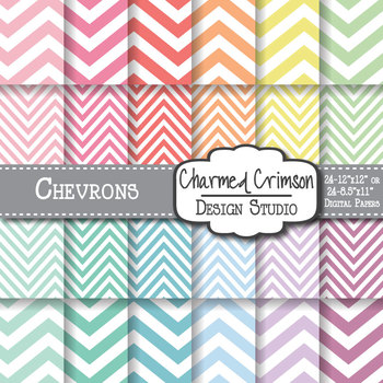 Pastel Chevron Digital Paper 1186