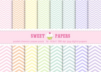 Pastel Chevron Digital Paper Pack - by Sweet Papers