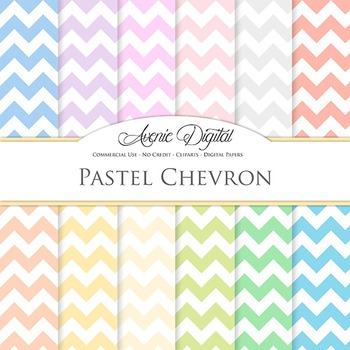Pastel Chevron Digital Paper patterns soft zig zag lines scrapbook background