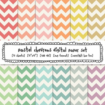 Pastel Chevron Digital Papers, Classroom Decor Backgrounds for TpT Sellers