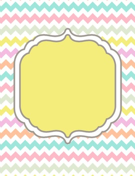 Pastel Chevron Digital Papers and Frames for Work books, Cover Pages & Sellers