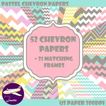 Pastel Chevron Digital Papers and Frames for Work books, C