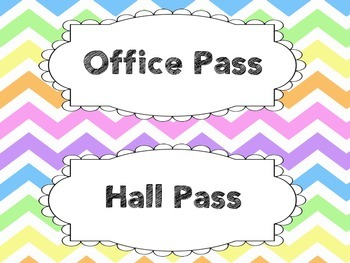 Pastel Chevron Hall Passes 2 Options