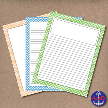 Pastel Chevron Lined Writing Paper for Writers Workshop, B