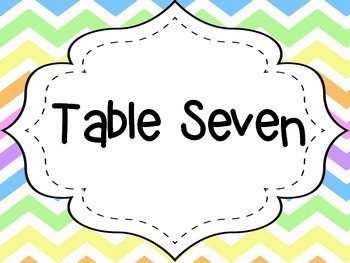 Pastel Chevron Table Numbers