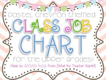 Pastel Chevron Themed - Class Job Chart {For the Upper Grades}