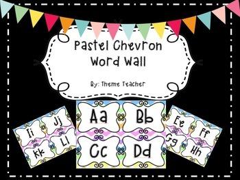 Pastel Chevron Word Wall