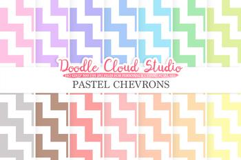 Pastel Chevron digital paper, Chevron pattern, Digital Chevron, pastel colors