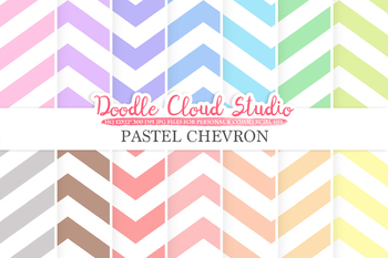 Pastel Chevron digital paper, Chevron pattern, Digital Chevron, pastel colors