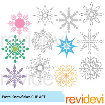 Pastel Christmas Decor Clip Art bundle / snowflakes, ornaments, penguin