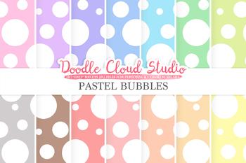 Pastel Circles digital paper, Big Polkadot pattern, Digital Circles.