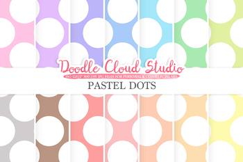 Pastel Circles digital paper, Big Polkadot pattern, Digital Circles